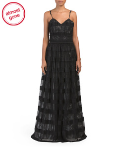 Striped Tulle Gown With Shoulder Ties