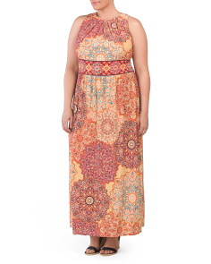 Plus Indian Dahlias Maxi Dress