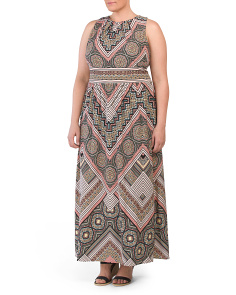 Plus Tile Medallion Maxi Dress