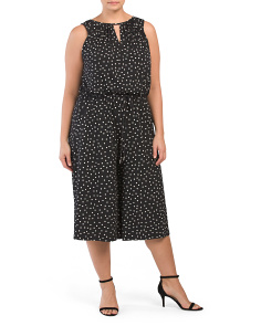 Plus Happy Dot Keyhole Gaucho Jumpsuit