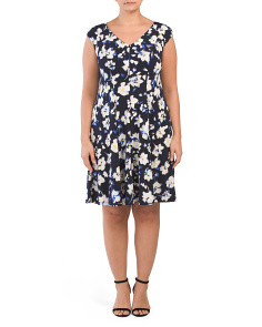 Plus Scatter V Neck Fit And Flare Dress