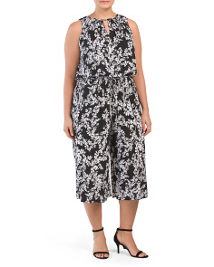 Plus Spring Spray Gaucho Jumpsuit