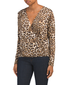 Long Sleeve Surplice Leopard Print Top