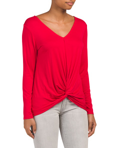 Made In Usa Long Sleeve Twist Front Knit Top