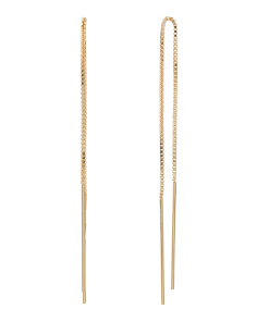 Made In Italy 14k Gold Box Chain Threader Earrings