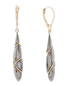 Made In Italy Two Tone 14k Blackened Gold Drop Earrings