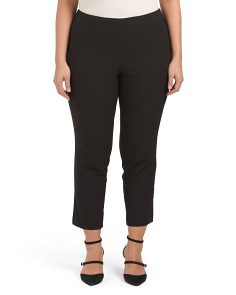 Plus Textured Stretch Pull On Pants