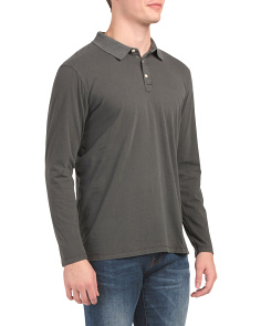 Washed Sueded Jersey Long Sleeve Polo