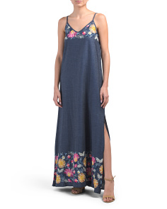 Made In Usa Embroidered Maxi Dress
