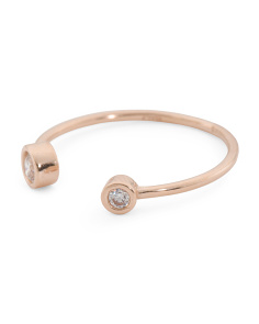 Made In Italy 14k Rose Gold Cz Open Ring`