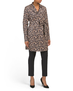 Faux Suede Leopard Print Trench Coat