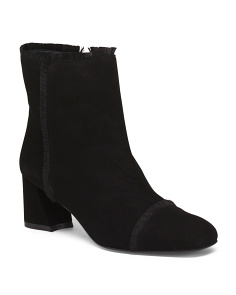 Made In Spain Side Zip Suede Booties