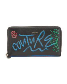 Made In Italy Graffiti Contniental Leather Wallet