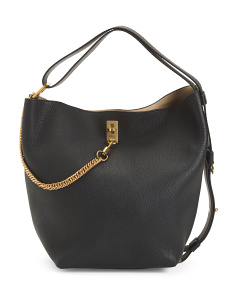 Made In Italy Leather Bucket Hobo