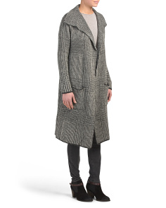 Long Open Menswear Plaid Coatigan