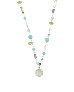Made In Canada 14k Gold Multi Gemstone Bead Necklace