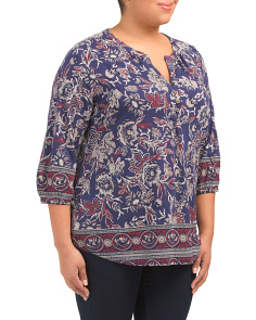 Plus Border Print Top