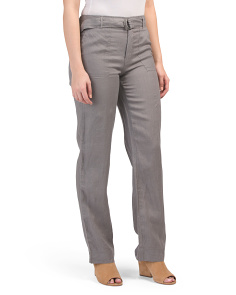 Solid Fly Front Linen Pants