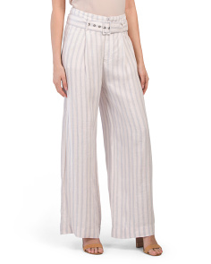Linen Tailored Pants With Self Belt