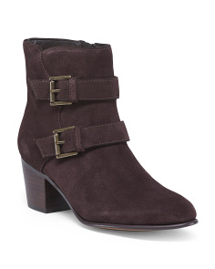 Double Buckle Comfort Suede Booties