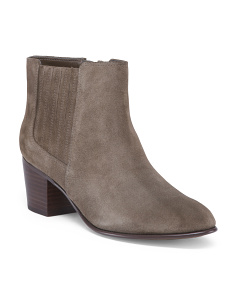 Stacked Heel Comfort Suede Booties