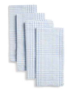 Made In India 4pk Seersucker Plaid Napkins