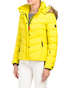 Ski Down Jacket With Faux Fur Hood
