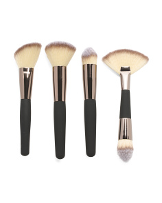 Professional 4 Piece Makeup Brush Set With Soft Touch Handles