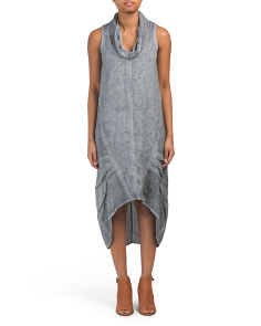 Hi-lo Drape Linen Skirt Dress