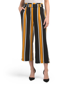 Juniors Wide Leg Vertical Stripe Crop Trousers
