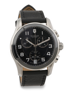 Men's Swiss Made Chrono Classic Ceramic Bezel Strap Watch