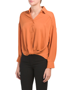 Juniors Double Layer Twist Front Top