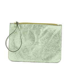 Made In Italy Wristlet Zip Leather Pouch