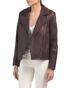 Petite Gia Leather Biker Jacket