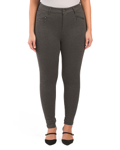 Plus High Rise Ponte Leggings With Zippers