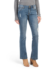 Petite Chrissy Flare Jeans With Light Destruction