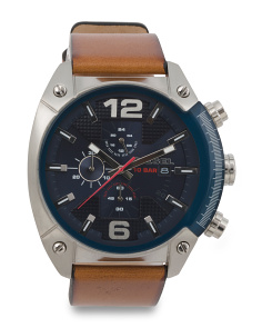 Men's Overflow Chronograph Leather Strap Watch