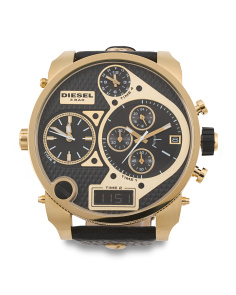 Men's Mr. Daddy Oversized Leather Strap Watch In Gold