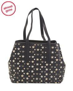 Made In Italy Leather Stars Shopping Bag