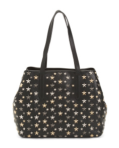 Made In Italy Leather Medium Stars Shopping Bag