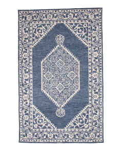 Made In India 5x8 Medallion Wool Blend Area Rug