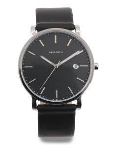 Men's Hagen Leather Strap Watch