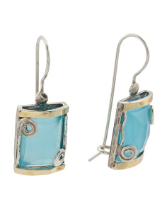 Made In Israel 14k Gold And Sterling Silver Quartz Earrings