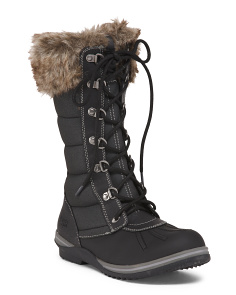 Faux Fur Waterproof Lace Up Boots