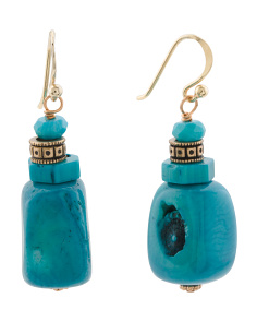 Handmade Blue Sea Bamboo Bronze Earrings
