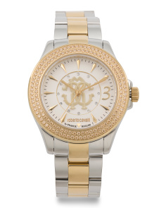 Women's Swiss Made Crystal Accent Two Tone Bracelet Watch