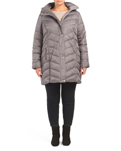 Plus Faux Trim Quilted Jacket