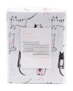 200tc Valentines Cat Pillowcase Set