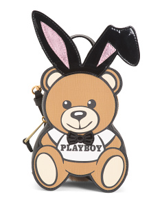 Made In Italy Playboy Bear Leather Backpack