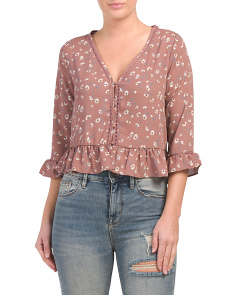 Juniors Button Down Ruffle Top